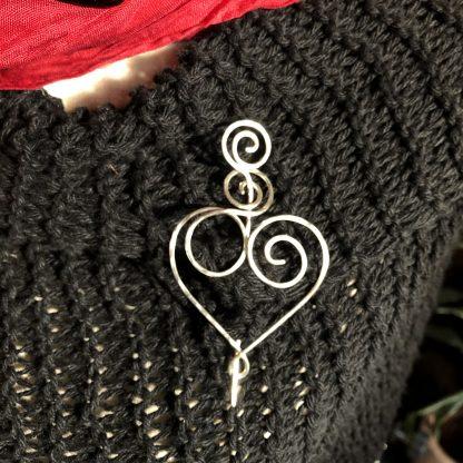 Silver heart pin brooch