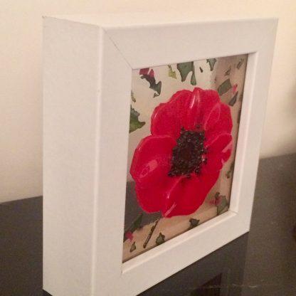 red poppy glass art