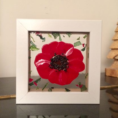 poppy fused glass art