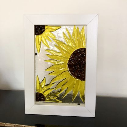 sunflower yellow transparent fused glass