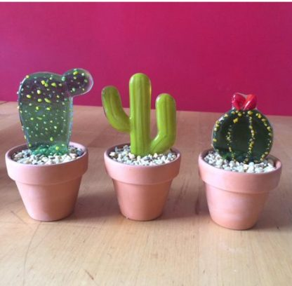 Stained Glass cactus Set of three