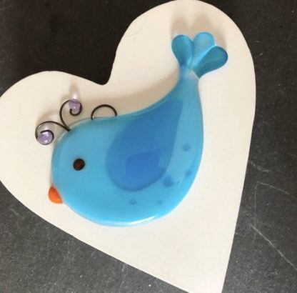 Blue fused glass bird