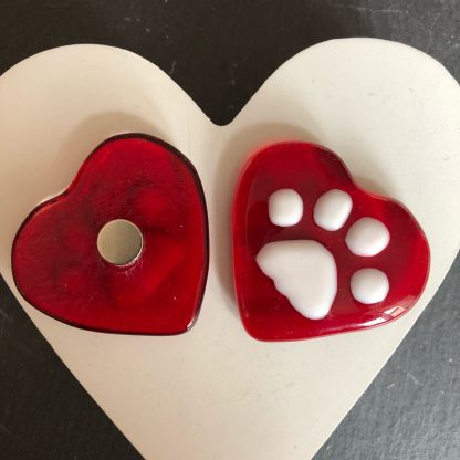 Paw print heart fridge magnet