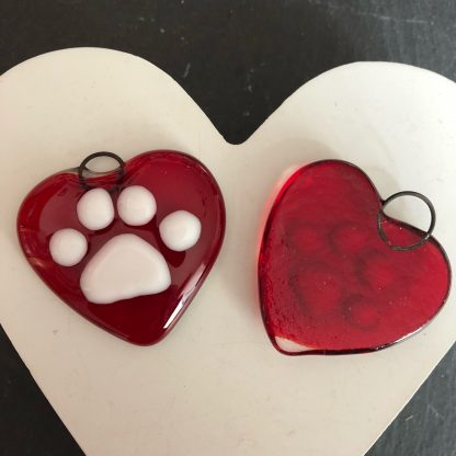 Paw print heart hanging ornament