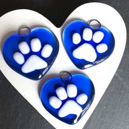 Blue paw print heart