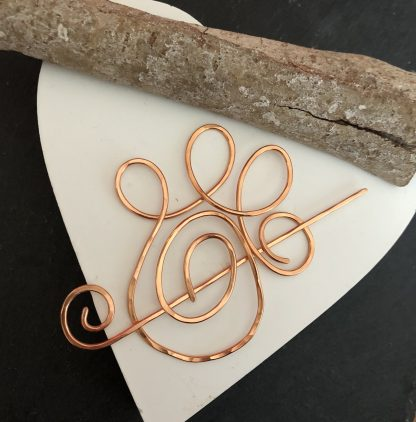 Copper paw print pin brooch